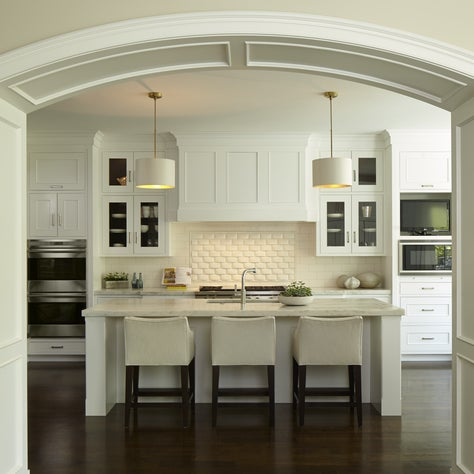 New Construction Gourmet Kitchen, Custom Cabinetry, Island with Marble Top