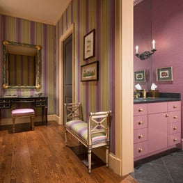 A dramatic purple Powder Room for Entertaining