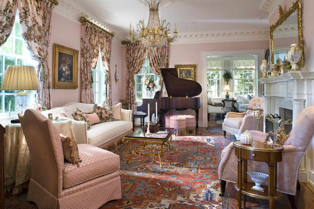 Traditional Formal Living Room and Music Room by Diane Burgoyne Interiors