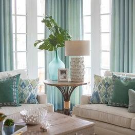 Transitional coastal blue living room