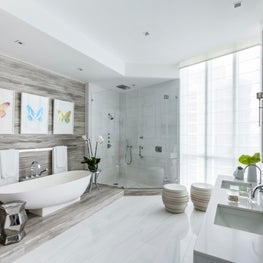 The stunning master bath featuring Dolomite marble