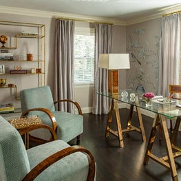 Lavender Chinoiserie Wallpapered Office with Glass Desk and Austrian Deco Chairs