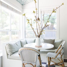 Breakfast Nook with Wallpapered Ceiling