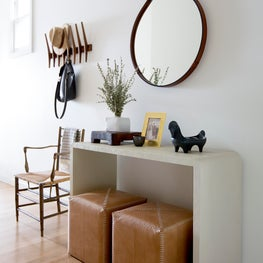 Modern San Francisco Home - Hand-crafted mirror & custom contrast stitch stools