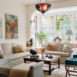 Historic Queen Anne on Brattle Street in Cambridge, Living room with solarium