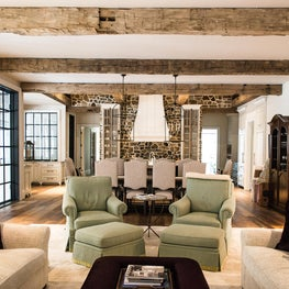 Private Residence, Hand-hewn Beams in the Living Room