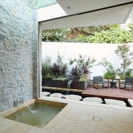 Hollywood Hills Master Bath with Sunken Tub and Zen Garden
