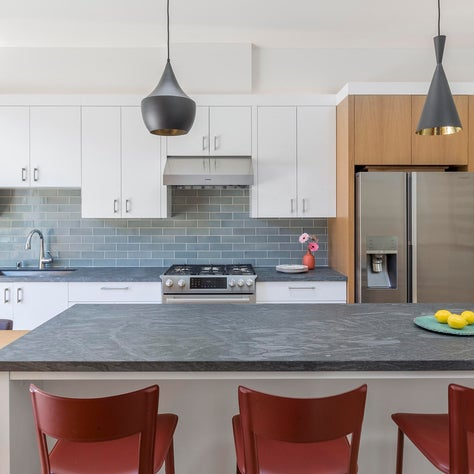 San Francisco kitchen with oak cabinets and Heath Ceramic Tile
