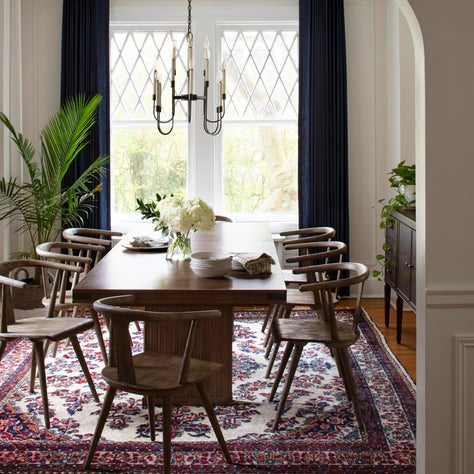 Ridgedale, A Modern Dining Room in A Traditional Home with an Antique Rug