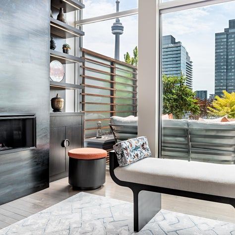 Toronto Penthouse Living Room with view of Terrace