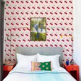 Santa Monica Loft, Guest Bedroom Featuring Flavor Paper Wall Covering