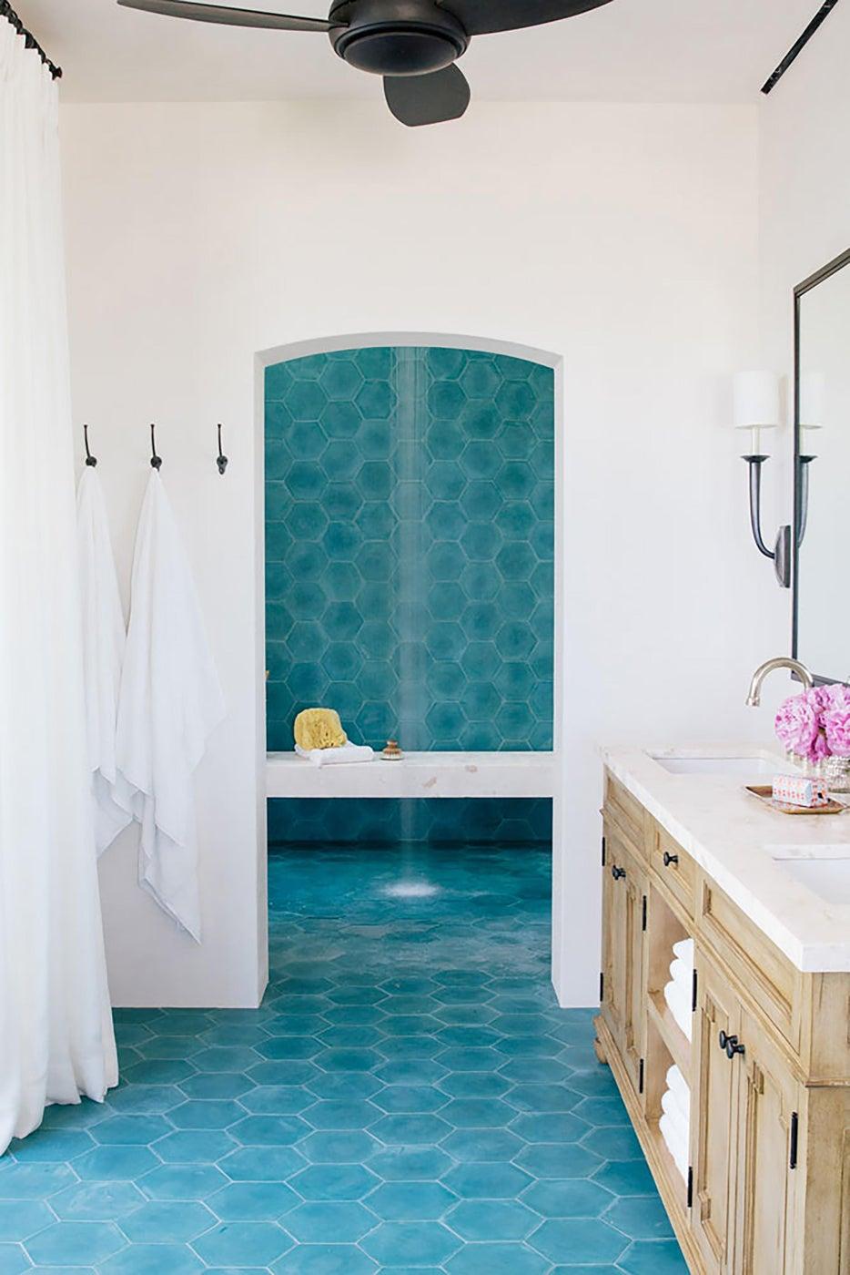 Master Bath, Popham blue tile, rainhead shower