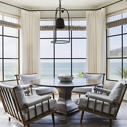 Overlooking the ocean is this great casual dining area.