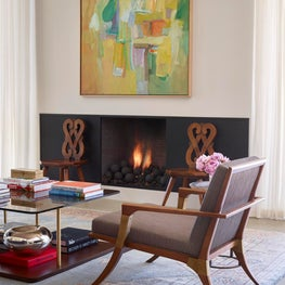 Vignette of Living Room with mix of antique and modern elements, Atherton