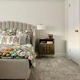 East 70th Street Master Bedroom, Velvet Upholstered Bed, Jungle Print Sheets