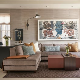 Chicago Lux, Living Room with Custom Sectional, Ottoman, Large Abstract Art