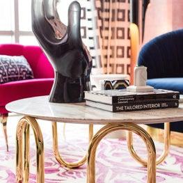 Fuchsia + Gold + Navy Coffee Table Hand Sculpture