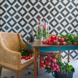 Contemporary Ocean Front Miami Home: Covered Patio with Cuban Tiles