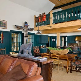 Mountain West Retreat: Great Room looking towards Kitchen and Loft