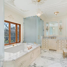 Master Bathroom, Custom Etched Glass Shower & Water Closet, Custom Cabinetry