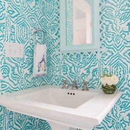 Trellis Home Design_Turquoise Powder Room