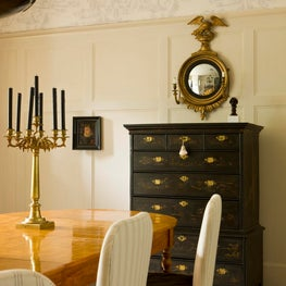 Traditional dining room with a blend of Continental and American antiques