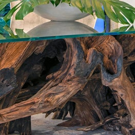 Contemporary Oceanfront Miami Home : We Salvaged a 100 Year Old Tree Trunk for This Dining Room Base