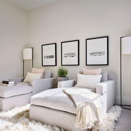 Cream Walls, Neutral Room, Black and White Photography, Grey Chaise Lounges, Jayson Home Accessories, The Rug Company - Glencoe Contemporary Project