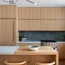 Bedford-Stuyvesant complete renovation.  Custom kitchen and millwork throughout with glass wall added to the back of the home.