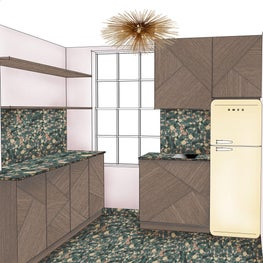 Funky and Cool Kitchen for this Pied a Terre in Central London, Terrazzo with Abstract Textured Timber and Brass Detail
