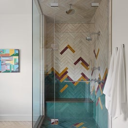 Evanston Master Bath with Colorful Tiles, Patterned Tiles