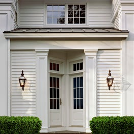 New recessed entrance to a classic Greek Revival home.