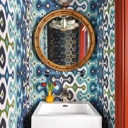 Colorful Powder Room Wallpaper Red Trim Star Light Vintage Round Portal Mirror