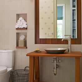 Powder Room Mud BathTille wall Vessel Sink Teak vanity