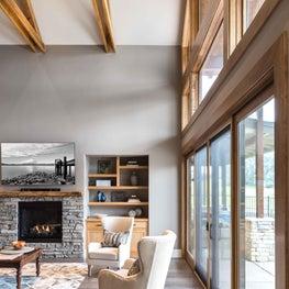 Modern Craftsman Living Room  with Cowhide Rug