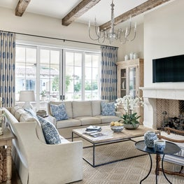 Living Room with Exposed Wood Beams