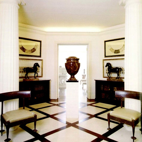 Sutton Place Foyer with geometric floors and columns