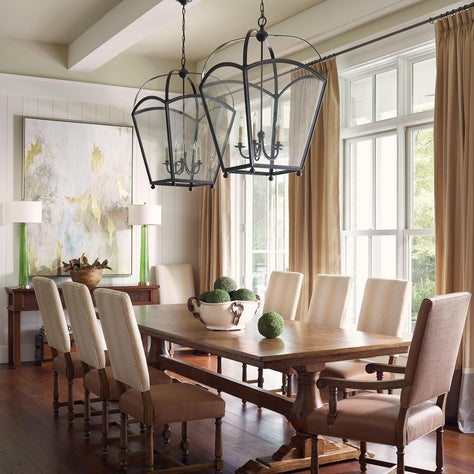 Gorgeous mix of neutrals and traditional lines with pops of green and transitional pieces.
