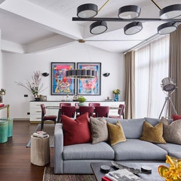 Lofty Ambitions - Living Area with art from Bangkok as the focal point
