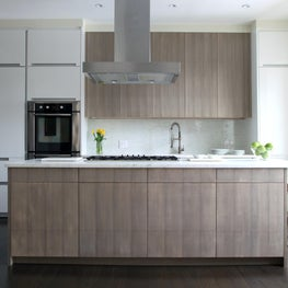 Tribeca Contemporary: Kitchen with Wood Stain & White Lacquer Cabinetry