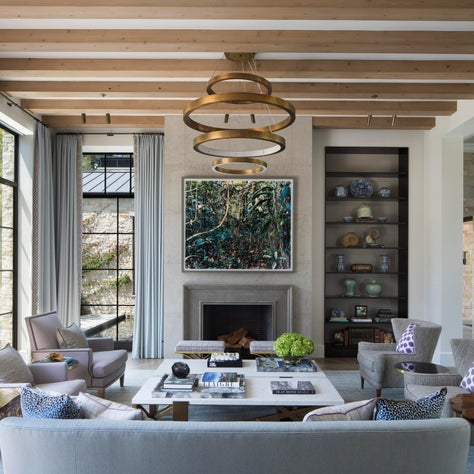 Bay Area Custom Dream Home, Living Room with a mix of modern and antique pieces