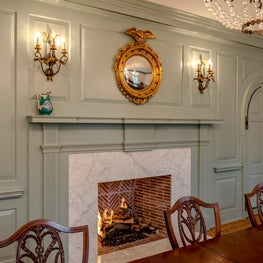 Formal Dining Room featuring Marble Fireplace