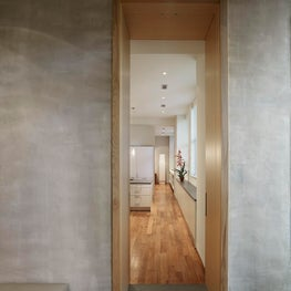 White Oak doorway with flush doors and Venetian plaster walls