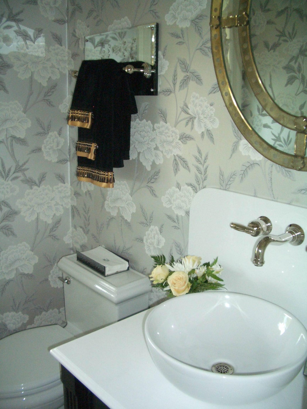 Powder Room with Gray Floral Wallpaper and Bowl Sink
