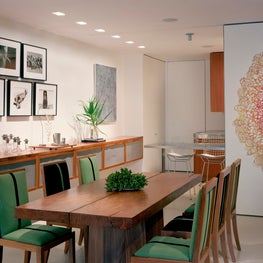 Modern New York City Tribeca Dining Room with Sliding Wall