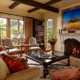 Traditional Spanish Colonial/Mediterranean living room.