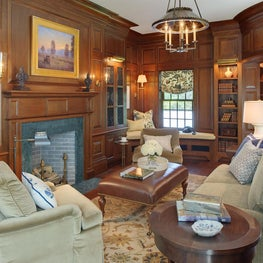Traditional Paneled Mahogany Library and Fireplace with Stone Surround