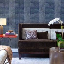 Living room clad in Large Skin Wallpaper in Denim Blue by Brett Design, Inc.