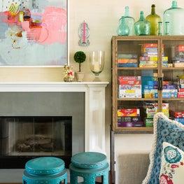 Colorful living room in Hampton's weekend home