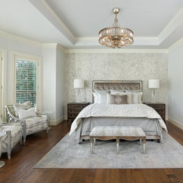 Frisco, TX Master Bedroom with crystal embedded wallpaper and glamorous touches